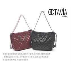 OCTAVIA 8真皮 - 復古傳奇 經典羊皮小香菱格鍊條二用包- 棗烈紅