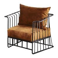 【AT HOME】工業風設計柵欄式鐵藝仿舊于晏深桔沙發椅(79*67*69cm)