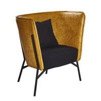 【AT HOME】工業風設計仿舊杰倫雙色黃皮沙發椅(75*71*87cm)