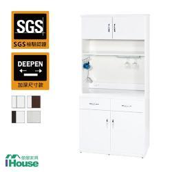 IHouse-零甲醛 環保塑鋼緩衝4門2抽碗盤櫃(寬83深42高191)