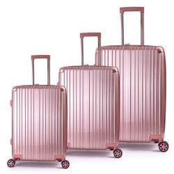 DF travel - 描繪足跡環遊全球硬殼可加大防刮絲紋行李箱三件組20+24+28吋-共4色