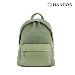 HANDOS - David 精緻輕便皮革後背包 - 灰綠