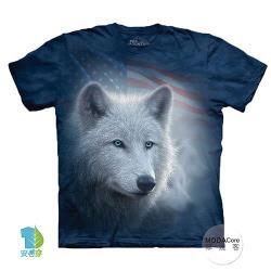 摩達客 (預購(大尺碼4XL/5XL)美國進口The Mountain愛國白狼純棉環保藝術中性短袖T恤