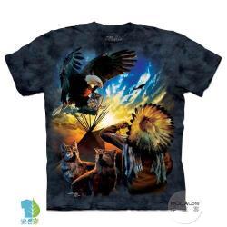 摩達客 (預購)(大尺碼3XL)美國進口The Mountain 和平印地安狼與鷹 純棉環保藝術中性短袖T恤