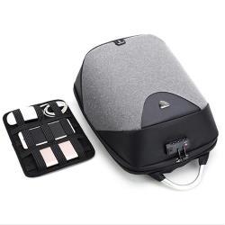 PUSH!箱包用品防盜海關鎖的防水雙肩背包電腦包商務包3C包旅遊包學生書包U50-1淺灰色