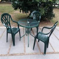 BROTHER 兄弟牌 80cm玻璃圓桌加綠色塑膠椅一桌四椅組