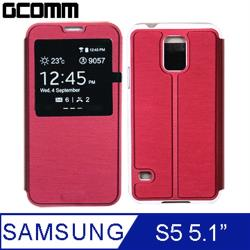 GCOMM Galaxy S5 Metalic Texture 金屬質感拉絲紋超纖皮套 美酒紅