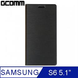 GCOMM Galaxy S6 Metalic Texture 金屬質感拉絲紋超纖皮套 紳士黑
