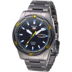 SEIKO 運動潛將百米5號24石自動機械男錶(SRP737K1)-全IP黑