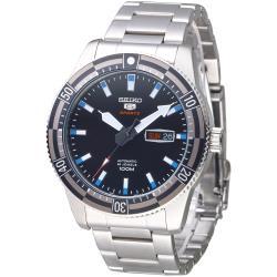 SEIKO 運動潛將百米5號24石自動機械男錶(SRP733K1)-黑*灰框