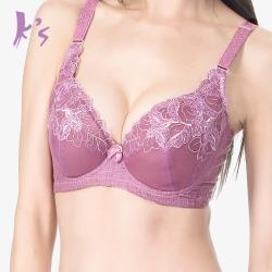 Ks凱恩絲 花邊蕾絲專利蠶絲機能爆乳AB杯內衣 紫色 (M05)