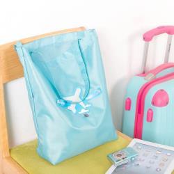 E.City_(2入)可折疊圖案式防潑水帶扣環保購物袋收納袋