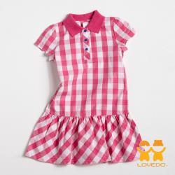 【LOVEDO-艾唯多童裝】亮麗色彩 格紋短袖小洋裝(白粉) GSH13129