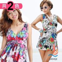 SANQI三奇 繽紛圖樣 兩件式加大尺碼泳衣(共兩色XL~3L) SQ88009