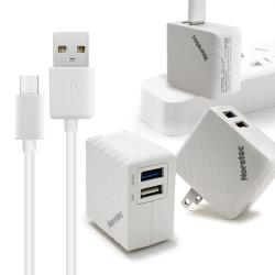Noratec 商檢認證 QC3.0/3A/18W閃充雙輸出 + MICRO USB 線組-白色組