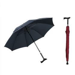 PUSH!戶外用品可調節長短雨傘拐杖傘登山杖(加固型)藏青色I74-1