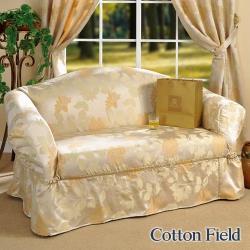 棉花田 米蘭 提花單人沙發套/沙發便利套-米色