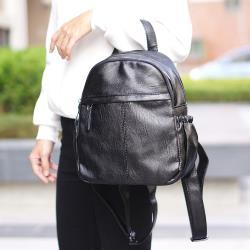 Acorn*橡果-韓版簡約皺褶多功能後背包6420N(黑色)