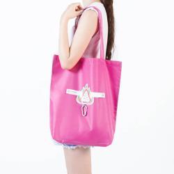 E.City_(4入)可折疊圖案式防潑水帶扣環保購物袋收納袋