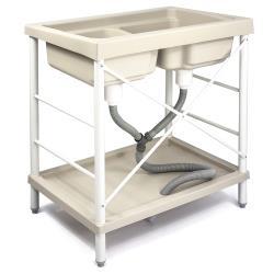 Aaronation - 新型雙槽塑鋼水槽 洗衣槽 - GU-A1001