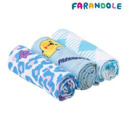 FARANDOLE - 無棉絮極柔軟雙層竹纖維包巾-三件禮盒組(莫蘭迪幸運豹+藍底法鬥+藍色格紋)
