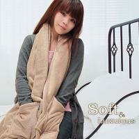 棉花田 樂邁 超細纖維創意保暖圍巾-褐色(46X190cm)