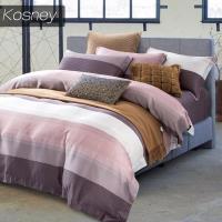 KOSNEY 時尚先生咖  特大100%天絲TENCE六件式兩用被床罩組