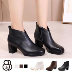 【88%】靴子-跟高6CM 純色簡約造型 秋冬穿搭必備款 短靴 踝靴