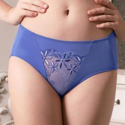 【U&Z】花躍蕾絲 中低腰三角褲(氣質藍)-台灣奧黛莉集團