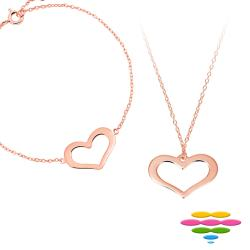 彩糖鑽工坊  925純銀鍍玫瑰金 手鍊+項鍊 Doris系列