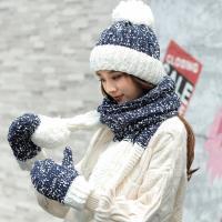Acorn*橡果-韓系雪花撞色針織保暖毛帽+圍巾+手套1817(三件組-藍色)