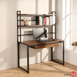 【LOGIS】桌長128CM層架式木紋鋼鐵極簡時尚工業風工作桌 MK128A11-1