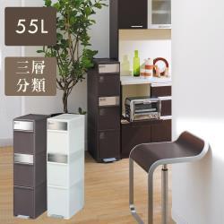 日本 LIKE IT 三層前開踩踏垃圾桶55L - 共二色