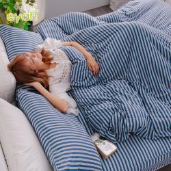 eyah 台灣製高級針織無印條紋雙人加大床包枕套3件組-藍色公路