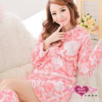 天使霓裳 淘氣可人 柔軟珊瑚絨睡衣組(粉白) HB6010