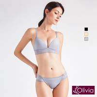 Olivia 無鋼圈素裸肌蕾絲內衣+小褲 單套組