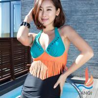 SANQI三奇 完美互補 一件式連身泳衣(綠M~XL) SQ3029