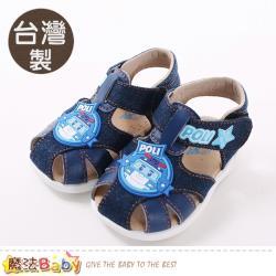 魔法Baby 手工寶寶鞋 台灣製POLI正版波力款男童涼鞋~sa91116