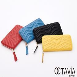OCTAVIA8 真皮 -  春的律動 小羊皮波浪車線全拉式長夾