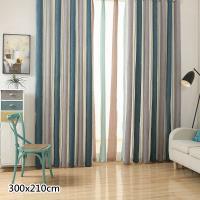 傢飾美 現代北歐風格雪尼爾條紋窗簾_300x210cm