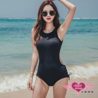 天使霓裳 泳衣 刷紋曲線 性感露背一件式連身泳裝(黑M~XL) SQ19007