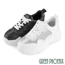 GREEN PHOENIX 國際精品極簡素面透氣網布綁帶義大利牛皮厚底老爹鞋U28-25422