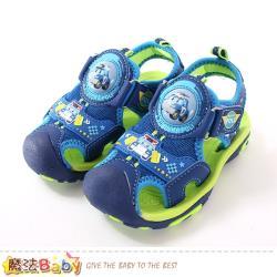 魔法Baby 男童鞋 POLI授權正版波力款護趾防撞閃燈運動涼鞋~sa91106