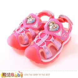 魔法Baby 女童鞋 冰雪奇緣授權正版護趾防撞閃燈運動涼鞋~sa94103