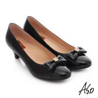 A.S.O 舒活寬楦 全真皮蝴蝶結飾扣奈米窩心低跟鞋- 黑