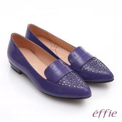 effie 輕透美型 鏡面羊皮混異材質樂福平底鞋- 紫