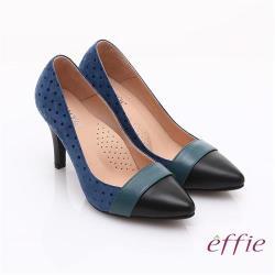 effie 輕透美型 羊皮拼接絨面點點高跟鞋- 藍