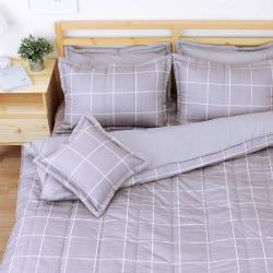 艾莉絲-貝倫 和日方常(6x6.2呎)六件式雙人加大(100%純棉)鋪棉床罩組-灰棕色