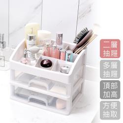 E-Life-日式多用途桌面透明抽屜收納盒-雙層