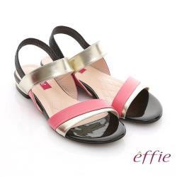 effie 軟芯系列 全羊皮拼色一字帶平底涼鞋- 粉紅